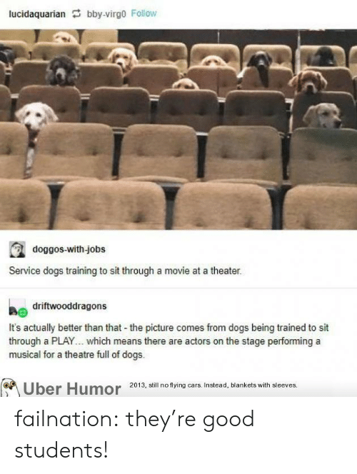 uber humor: lucidaquarian bby-virgo Follow  doggos-with-jobs  Service dogs training to sit through a movie at a theater.  driftwooddragons  It's actually better than that the picture comes from dogs being trained to sit  through a PLAY... which means there are actors on the stage performing a  musical for a theatre full of dogs.  Uber Humor 2013, still no flying cars. Instead, blankets with sleeves. failnation:  they're good students!