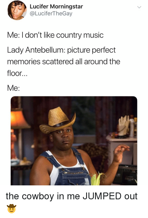 Music, Country Music, and Lucifer: Lucifer Morningstar  @LuciferTheGay  Me: I don't like country music  Lady Antebellum: picture perfect  memories scattered all around the  floor.  Me: the cowboy in me JUMPED out 🤠