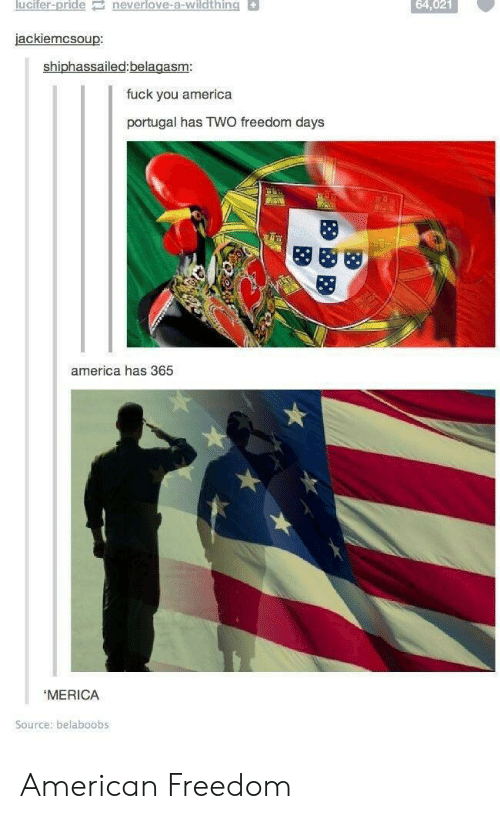 America, Fuck You, and Lucifer: lucifer-pride neverlove-a-wildthing  64,021  jackiemcsoup  shiphassailed:belagasm  fuck you america  portugal has TWO freedom days  america has 365  MERICA  Source: belaboobs American Freedom