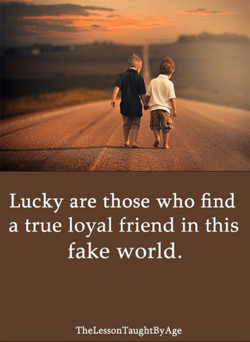 Fake, Memes, and True: Lucky are those who find  a true loyal friend in this  fake world  TheLessonTaughtByAge
