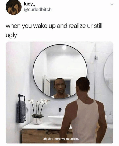 Memes, Shit, and Ugly: lucy,  @curledbitch  when you wake up and realize ur still  ugly  ah shit, here we go again.