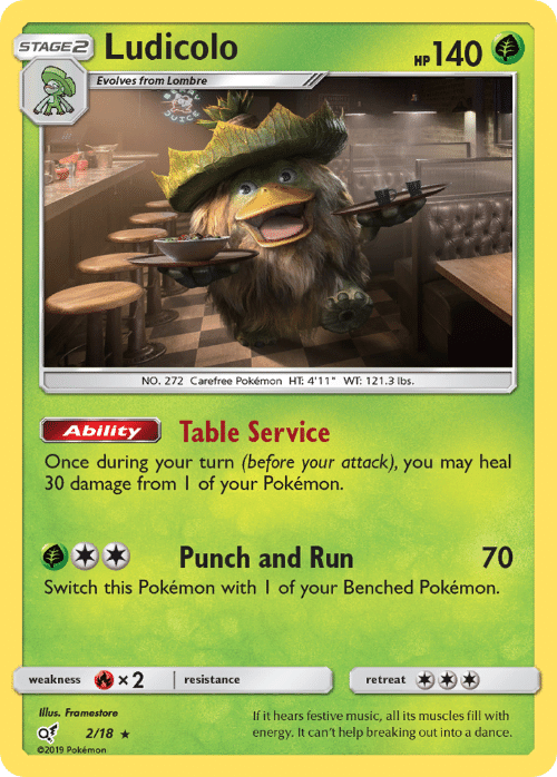 "Energy, Music, and Pokemon: Ludicolo  140  STAGE2  НР  Evolves from Lombre  NO. 272 Carefree Pokémon HT: 4'11"" WT: 121.3 lbs.  Table Service  Ability  Once during your turn (before your attack), you may heal  30 damage from I of your Pokémon.  Punch and Run  70  Switch this Pokémon with I of your Benched Pokémon.  x2  weakness  resistance  retreat  Illus. Framestore  If it hears festive music, all its muscles fill with  energy. It can't help breaking out into a dance.  2/18  02019 Pokémon"