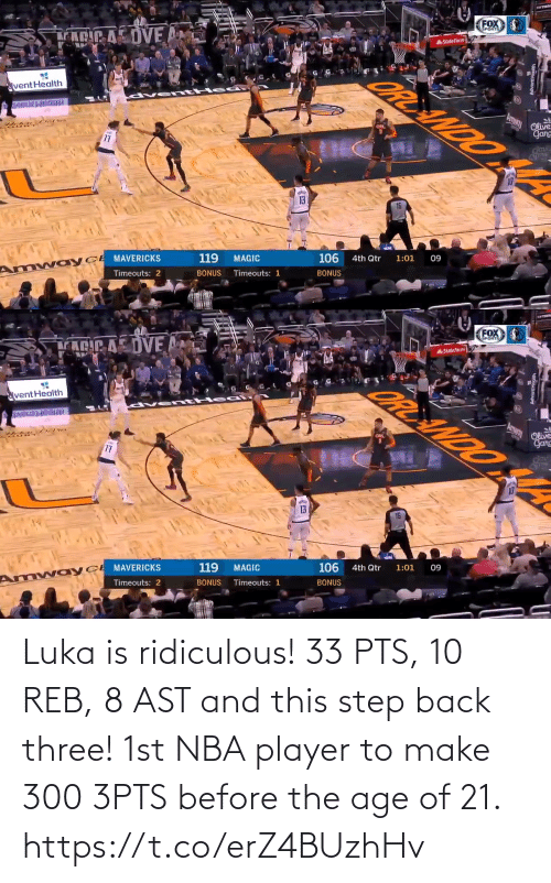 ridiculous: Luka is ridiculous!  33 PTS, 10 REB, 8 AST and this step back three!   1st NBA player to make 300 3PTS before the age of 21. https://t.co/erZ4BUzhHv
