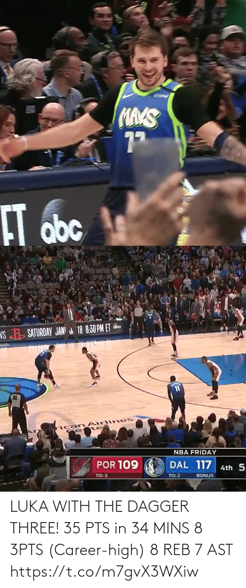 career: LUKA WITH THE DAGGER THREE!   35 PTS in 34 MINS 8 3PTS (Career-high) 8 REB 7 AST  https://t.co/m7gvX3WXiw
