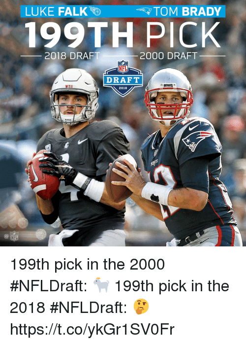 Memes, Nfl, and NFL Draft: .  LUKE FALK  TOM BRADY  199TH PICK  2018 DRAFT  2000 DRAFT  NFL  DRAFT  Wsu  2018  Riddelle  NFL 199th pick in the 2000 #NFLDraft: 🐐  199th pick in the 2018 #NFLDraft: 🤔 https://t.co/ykGr1SV0Fr