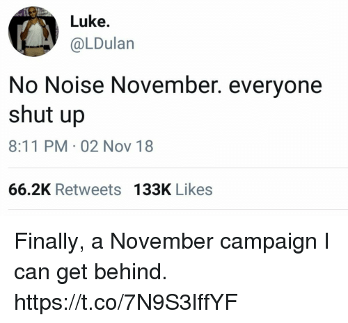 Funny, Shut Up, and Can: Luke.  @LDulan  No Noise November. everyone  shut up  8:11 PM 02 Nov 18  66.2K Retweets 133K Likes Finally, a November campaign I can get behind. https://t.co/7N9S3lffYF