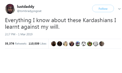 Dank, Kardashians, and 🤖: lustdaddy  @tombradyyisgoat  Follow )  Everything I know about these Kardashians I  learnt against my will  2:17 PM-1 Mar 2019  35,376 Retweets 110,039 Likes