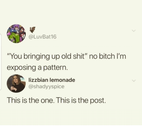 """Bitch, Shit, and Old: @LuVBat16  """"You bringing up old shit"""" no bitch l'm  exposing a pattern  lizzbian lemonade  @shadyyspice  This is the one. This is the post."""