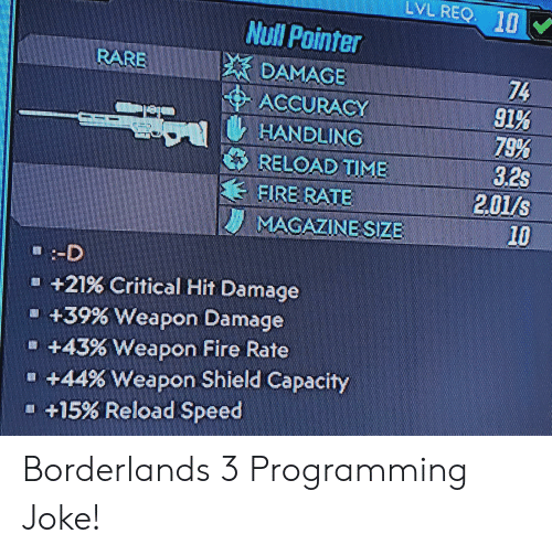 Fire, Null, and Time: LVL REQ I  Null Pointer  DAMAGE  ACCURACY  HANDLING  RELOAD TIME  FIRE RATE  MAGAZINE SIZE  RARE  74  91%  79%  3.2s  201/s  10  :-D  +21% Critical Hit Damage  +39% Weapon Damage  +43% Weapon Fire Rate  +44% Weapon Shield Capacity  +15% Reload Speed Borderlands 3 Programming Joke!