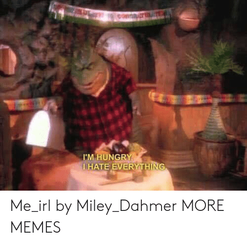 Dank, Memes, and Miley Cyrus: 'M HUNG  LHATE EVERYTHING Me_irl by Miley_Dahmer MORE MEMES