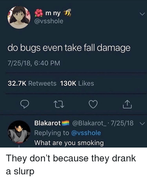 Fall, Smoking, and Dank Memes: m ny  @vsshole  do bugs even take fall damage  7/25/18, 6:40 PM  32.7K Retweets 130K Likes  Blakarot @Blakarot_ 7/25/18  Replying to @vsshole  What are you smoking They don't because they drank a slurp