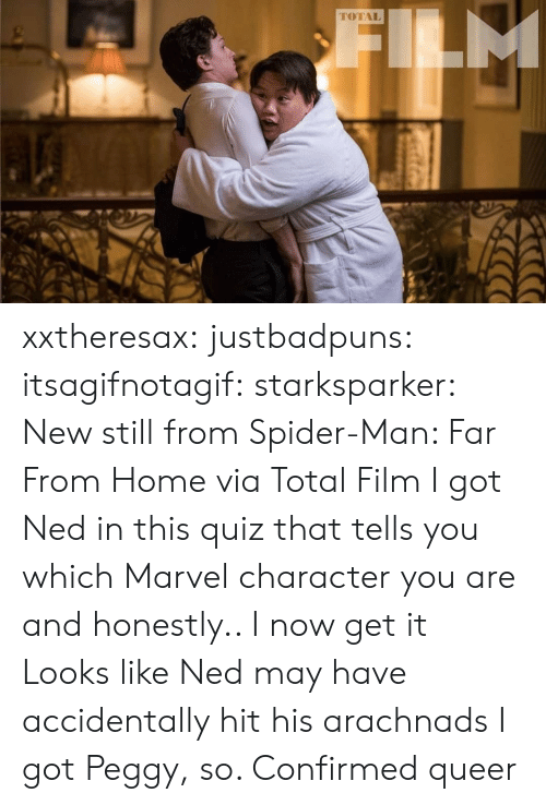 Confirmed: M  TOTAL xxtheresax: justbadpuns:   itsagifnotagif:  starksparker: New still from Spider-Man: Far From Home via Total Film I got Ned in this quiz that tells you which Marvel character you are and honestly.. I now get it  Looks like Ned may have accidentally hit his arachnads   I got Peggy, so. Confirmed queer