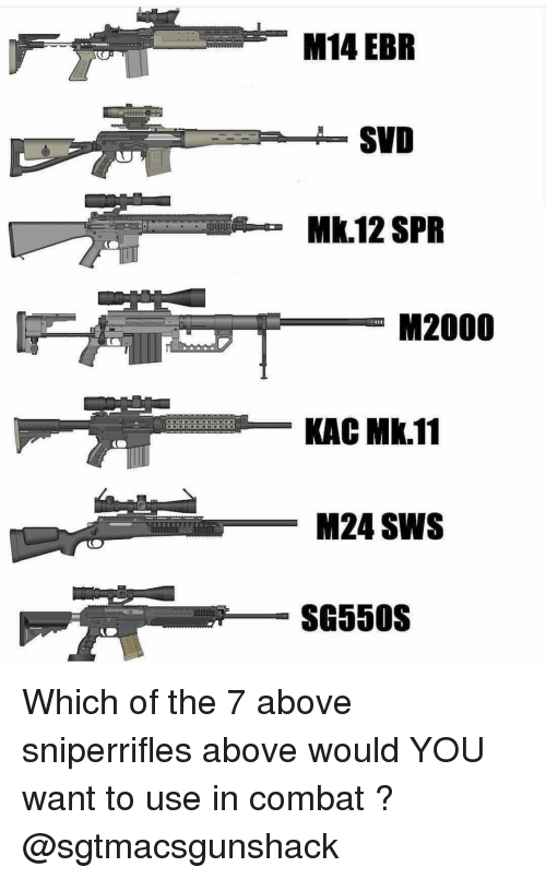 Memes, 🤖, and M14: M14 EBR  SVD  Mk.12 SPR  M2000  KAC Mk.11  M24 SWS  SG550S Which of the 7 above sniperrifles above would YOU want to use in combat ? @sgtmacsgunshack