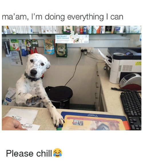 Chill, Memes, and 🤖: ma'am, l'm doing everything I can  Get it checked Please chill😂