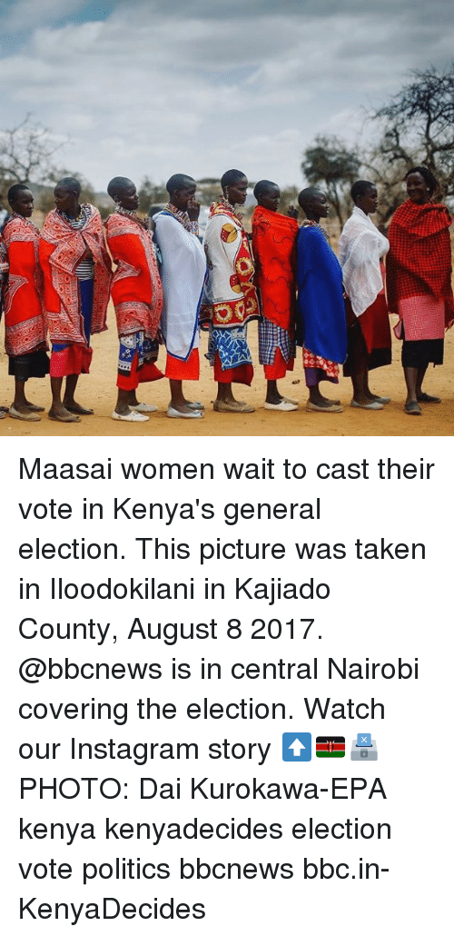 epa: Maasai women wait to cast their vote in Kenya's general election. This picture was taken in Iloodokilani in Kajiado County, August 8 2017. @bbcnews is in central Nairobi covering the election. Watch our Instagram story ⬆️🇰🇪🗳PHOTO: Dai Kurokawa-EPA kenya kenyadecides election vote politics bbcnews bbc.in-KenyaDecides