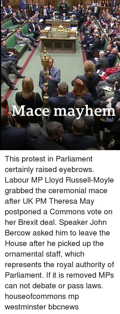 Bbcnews: Mace mayhe This protest in Parliament certainly raised eyebrows. Labour MP Lloyd Russell-Moyle grabbed the ceremonial mace after UK PM Theresa May postponed a Commons vote on her Brexit deal. Speaker John Bercow asked him to leave the House after he picked up the ornamental staff, which represents the royal authority of Parliament. If it is removed MPs can not debate or pass laws. houseofcommons mp westminster bbcnews