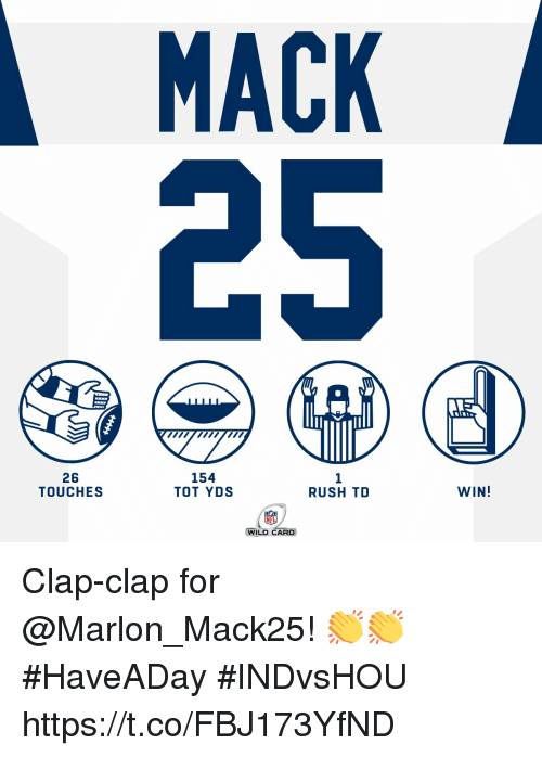 Memes, Nfl, and Rush: MACK  26  TOUCHES  154  TOT YDS  1  RUSH TD  WIN!  NFL  WILD CARD Clap-clap for @Marlon_Mack25! 👏👏 #HaveADay #INDvsHOU https://t.co/FBJ173YfND