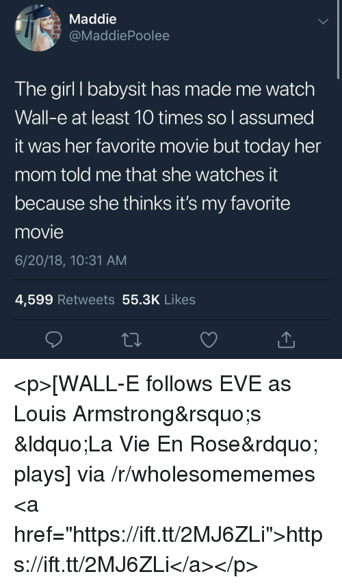 """Girl, Movie, and Rose: Maddie  @MaddiePoolee  The girl I babysit has made me watch  Wall-e at least 10 times so assumed  it was her favorite movie but today her  mom told me that she watches t  because she thinks it's my favorite  movie  6/20/18, 10:31 AM  4,599 Retweets 55.3K Likes <p>[WALL-E follows EVE as Louis Armstrong's """"La Vie En Rose"""" plays] via /r/wholesomememes <a href=""""https://ift.tt/2MJ6ZLi"""">https://ift.tt/2MJ6ZLi</a></p>"""