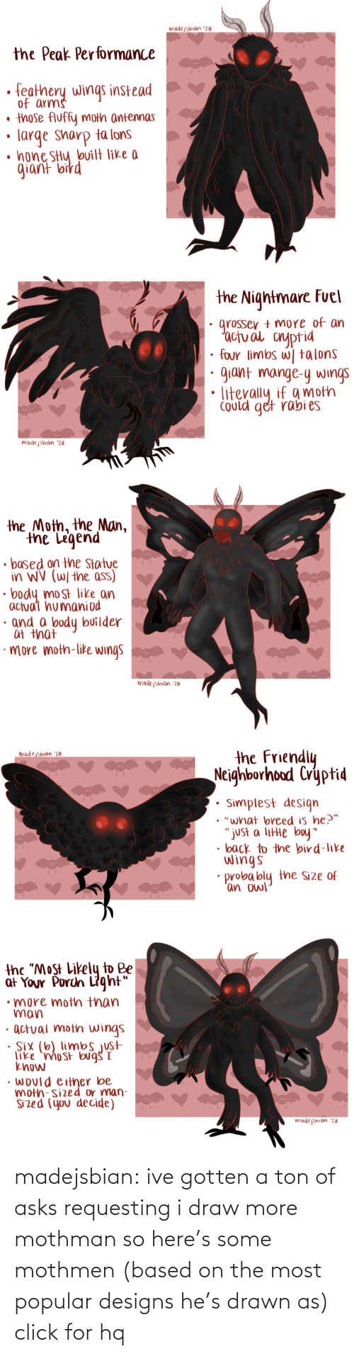 "Performance: madejsbian '20  the Peak Performance  feathery wings instead  of arms  • those Auffy moth antennas  large sharp ta lons  • hone SHy bvilt like a  giant bird   the Nightmare Fuel  grosser + more of an  'actual cnyptid  four limbs w| talons  giant mange-y wings  Could get rabi es  madejsbian '20   the Moth, the Man,  the Legend  • based on the Statue  in WV (W/ the ass)  body most like an  actual humaniod  · and a body builder  at that  ·more moth-like wings  madejsbian '20   the Friendly  Neighborhood Cryptid  madejsbian '20  Simplest design  • ""what breed is he?™  ""just a litte boy""  • back to the bird-like  wings  probably the Size of  'an owl   the ""Most Likely to Be  at Your Porch Light""  •more moth than  man  · actual moth wings  · Six (6) limbs just  like 'mo st bug I  know  • would either be  moth-sized or man-  Sized (you decide)  madejsbian '20 madejsbian: ive gotten a ton of asks requesting i draw more mothman so here's some mothmen (based on the most popular designs he's drawn as)