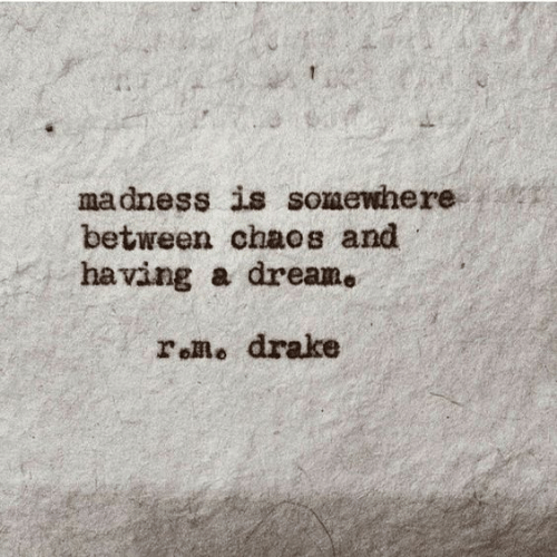 A Dream, Drake, and Madness: madness is somewhere  between chaos and  having a dream.  roRo drake