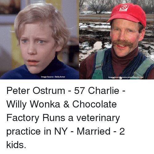 Peter Ostrum: mage Source-DailyActor  imagasouro9www. Peter Ostrum - 57 Charlie - Willy Wonka & Chocolate Factory Runs a veterinary practice in NY - Married - 2 kids.