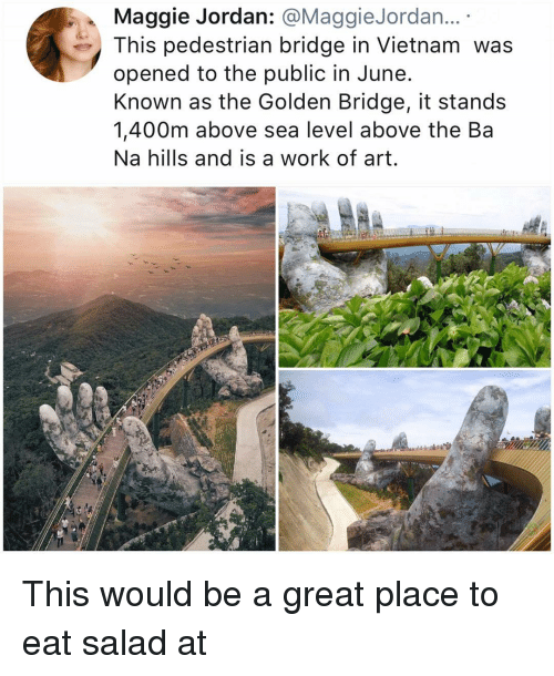 Memes, Work, and Jordan: Maggie Jordan: @MaggieJordan...  This pedestrian bridge in Vietnam was  opened to the public in June  Known as the Golden Bridge, it stands  1,400m above sea level above the Ba  Na hills and is a work of art. This would be a great place to eat salad at