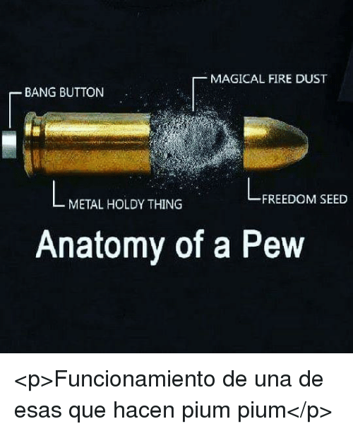 Fire, Freedom, and Metal: MAGICAL FIRE DUST  BANG BUTTON  FREEDOM SEED  METAL HOLDY THING  Anatomy of a Pew <p>Funcionamiento de una de esas que hacen pium pium</p>