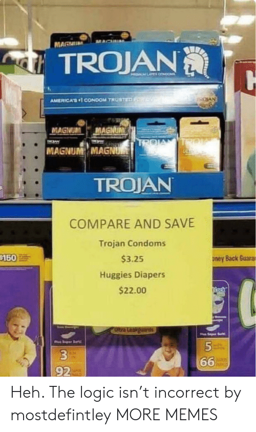 Condom: MAGNU  TROJAN  HELM LATEL CONDO  SAN  AMERICA'S1 CONDOM TRUSTED  MAGNUM  MAGNUM  TROIA  TIN  TMAW  MAGNUM MAGNUM  TROJAN  COMPARE AND SAVE  Trojan Condoms  $150  $3.25  ney Back Guarar  Huggies Diapers  $22.00  Oltra Leakguards  Saft  5  66  hisies  92 Heh. The logic isn't incorrect by mostdefintley MORE MEMES