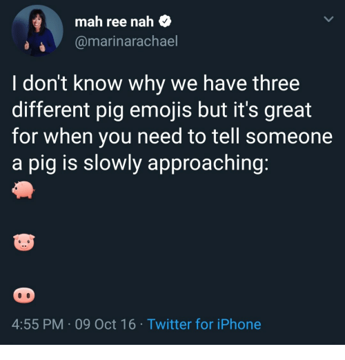 Iphone, Twitter, and Emojis: mah ree nah $  @marinarachael  I don't know why we have three  different pig emojis but it's great  for when you need to tell someone  a pig is slowly approaching  4:55 PM 09 Oct 16 Twitter for iPhone