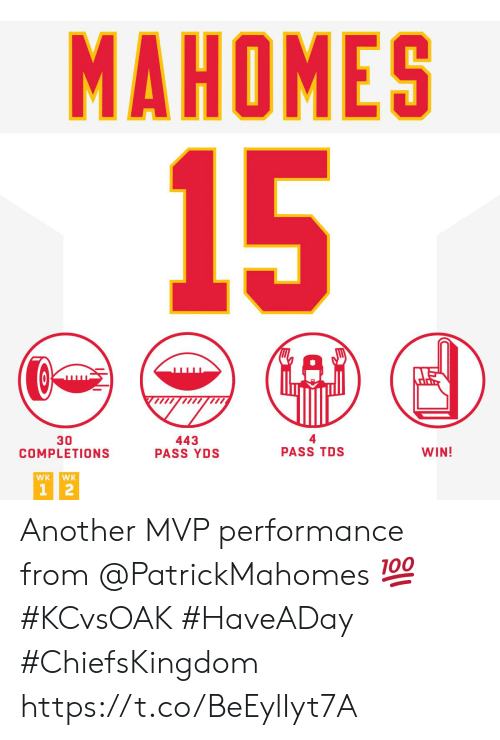 mvp: MAHOMES  15  30  COMPLETIONS  443  PASS YDS  PASS TDS  WIN!  WK  WK  1 2 Another MVP performance from @PatrickMahomes 💯 #KCvsOAK #HaveADay  #ChiefsKingdom https://t.co/BeEylIyt7A