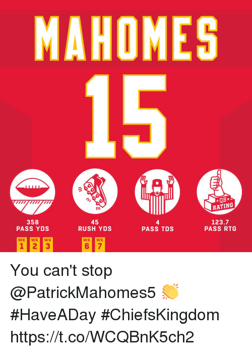 Memes, Rush, and 🤖: MAHOMES  *QB*  RATING  358  PASS YDS  45  RUSH YDS  4  PASS TDS  123.7  PASS RTG You can't stop @PatrickMahomes5 👏  #HaveADay #ChiefsKingdom https://t.co/WCQBnK5ch2