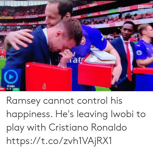 Cristiano Ronaldo: main  rat  0 min Ramsey cannot control his happiness. He's leaving Iwobi to play with Cristiano Ronaldo https://t.co/zvh1VAjRX1