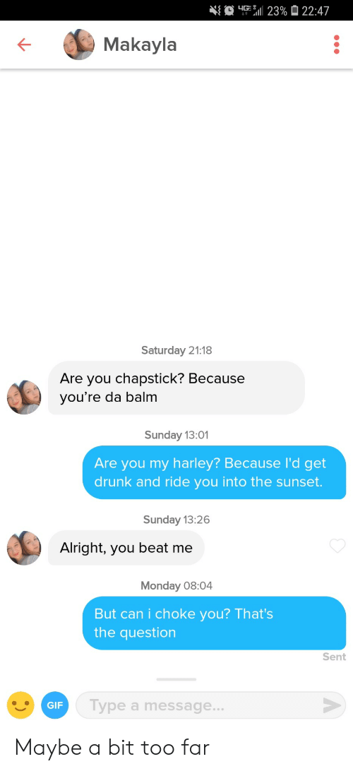 Drunk, Gif, and Sunset: Makayla  Saturday 21:18  Are you chapstick? Because  you're da balm  Sunday 13:01  Are you my harley? Because l'd get  drunk and ride you into the sunset.  Sunday 13:26  Alright, you beat me  Monday 08:04  But can i choke you? That's  the question  Sent  Type a message...  GIF Maybe a bit too far