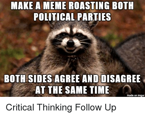 Meme, Imgur, and Time: MAKE A MEME ROASTING BOTH  POLITICAL PARTIES  BOTH SIDES AGREE ANDDISAGREE  AT THE SAME TIME  made on imgur Critical Thinking Follow Up