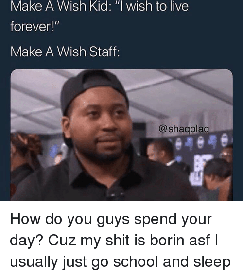 """School, Shit, and Forever: Make A Wish Kid: """"l wish to live  forever!""""  Make A Wish Staff:  @shagblag How do you guys spend your day? Cuz my shit is borin asf I usually just go school and sleep"""