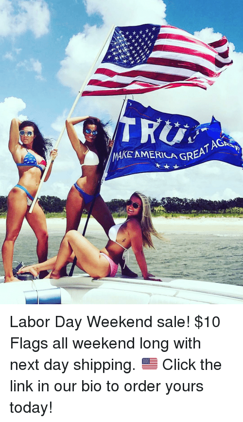 Click, Memes, and Labor Day: MAKE AMERILA GREA Labor Day Weekend sale! $10 Flags all weekend long with next day shipping. 🇺🇸 Click the link in our bio to order yours today!