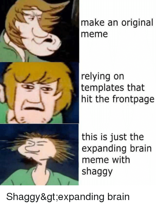 meme reddit and brain make an original meme relying orn templates that hit the frontpage this is just the expanding brain meme with shaggy