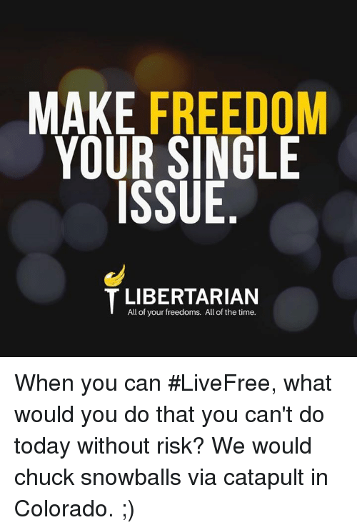 Memes, Colorado, and Time: MAKE FREEDOM  YOUR SINGLE  ISSUE  All of your freedoms. All of the time. When you can #LiveFree, what would you do that you can't do today without risk?  We would chuck snowballs via catapult in Colorado. ;)