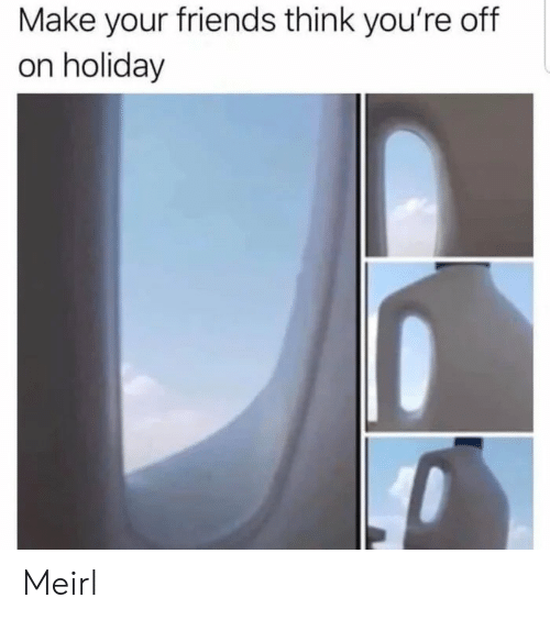 Friends, MeIRL, and Think: Make your friends think you're off  on holiday Meirl