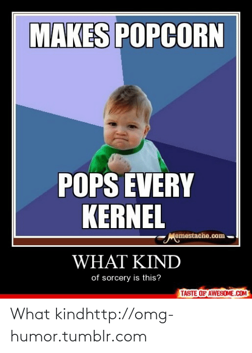 kernel: MAKES POPCORN  POPS EVERY  KERNEL  Momestache.com  WHAT KIND  of sorcery is this?  TASTE OF AWESOME.COM What kindhttp://omg-humor.tumblr.com