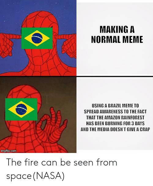 Amazon, Fire, and Meme: MAKING A  NORMAL MEME  USING A BRAZIL MEME TO  SPREAD AWARENESS TO THE FACT  THAT THE AMAZON RAINFOREST  HAS BEEN BURNING FOR 3 DAYS  AND THE MEDIA DOESN'T GIVE A CRAP  imgflip.com The fire can be seen from space(NASA)