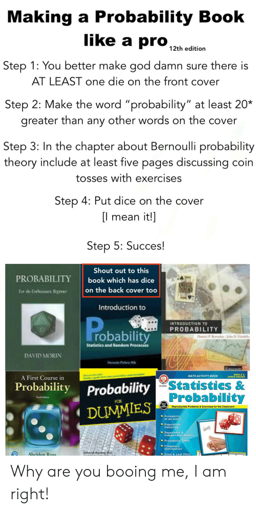 """Front Cover: Making a Probability Book  like a pro  12th edition  Step 1: You better make god damn sure there is  AT LEAST one die on the front cover  Step 2: Make the word """"probability"""" at least 20*  greater than any other words on the cover  Step 3: In the chapter about Bernoulli probability  theory include at least five pages discussing coin  tosses with exercises  Step 4: Put dice on the cover  l mean it!]  Step 5: Succes!  Shout out to this  PROBABILITY  book which has dice  