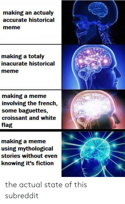Meme, History, and White: making an actualy  accurate historical  meme  making a totaly  inacurate historical  meme  making a meme  involving the french,  some baguettes,  croissant and white  flag  making a meme  using mythological  stories without even  knowing it's fiction the actual state of this subreddit
