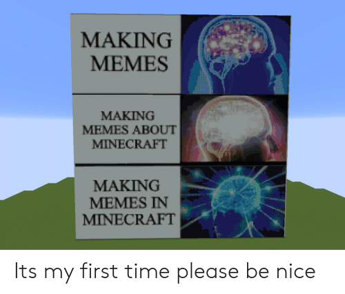 Memes, Minecraft, and Time: MAKING  MEMES  MAKING  MEMES ABOUT  MINECRAFT  MAKING  MEMES IN  MINECRAFT Its my first time please be nice