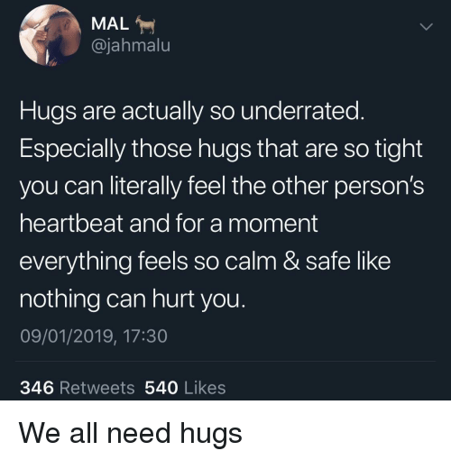Can, Safe, and All: MAL  @jahmalu  Hugs are actually so underrated.  Especially those hugs that are so tight  you can literally feel the other person's  heartbeat and for a moment  everything feels so calm & safe like  nothing can hurt you  09/01/2019, 17:30  346 Retweets 540 Likes We all need hugs