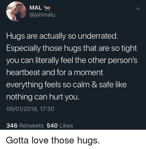 Love, Can, and Safe: MAL  @jahmalu  Hugs are actually so underrated.  Especially those hugs that are so tight  you can literally feel the other person's  heartbeat and for a moment  everything feels so calm & safe like  nothing can hurt you.  09/01/2019, 17:30  346 Retweets 540 Likes Gotta love those hugs.