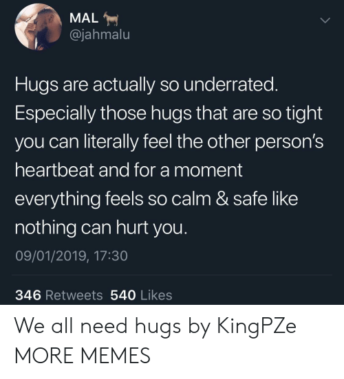 Dank, Memes, and Target: MAL  @jahmalu  Hugs are actually so underrated.  Especially those hugs that are so tight  you can literally feel the other person's  heartbeat and for a moment  everything feels so calm & safe like  nothing can hurt you  09/01/2019, 17:30  346 Retweets 540 Likes We all need hugs by KingPZe MORE MEMES