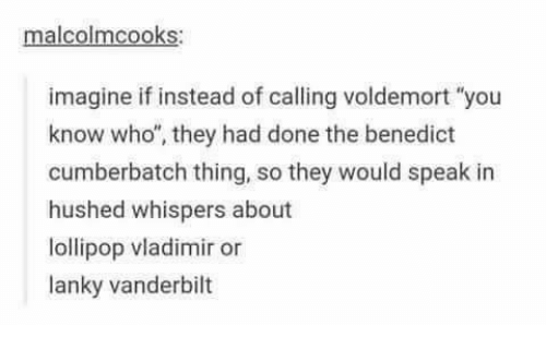 "Memes, Benedict Cumberbatch, and 🤖: malcolmcooks:  imagine if instead of calling voldemort ""you  know who"", they had done the benedict  cumberbatch thing, so they would speak in  hushed whispers about  lollipop vladimir or  lanky vanderbilt"