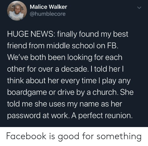 Password: Malice Walker  @humblecore  HUGE NEWS: finally found my best  friend from middle school on FB.  We've both been looking for each  other for over a decade. I told her I  think about her every time l play any  boardgame or drive by a church. She  told me she uses my name as her  password at work. A perfect reunion. Facebook is good for something