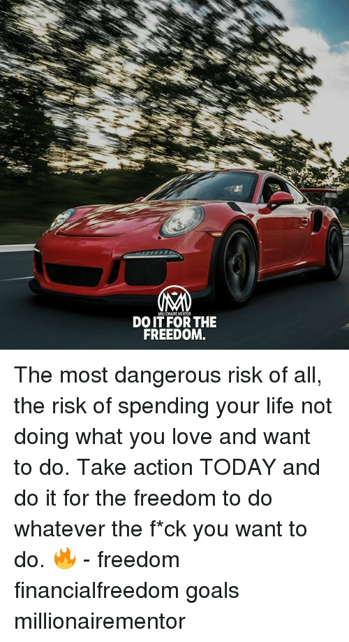Goals, Life, and Love: MALIONAIRE MENTOR  DO IT FOR THE  FREEDOM The most dangerous risk of all, the risk of spending your life not doing what you love and want to do. Take action TODAY and do it for the freedom to do whatever the f*ck you want to do. 🔥 - freedom financialfreedom goals millionairementor